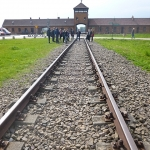 The railway leading to Auschwitz