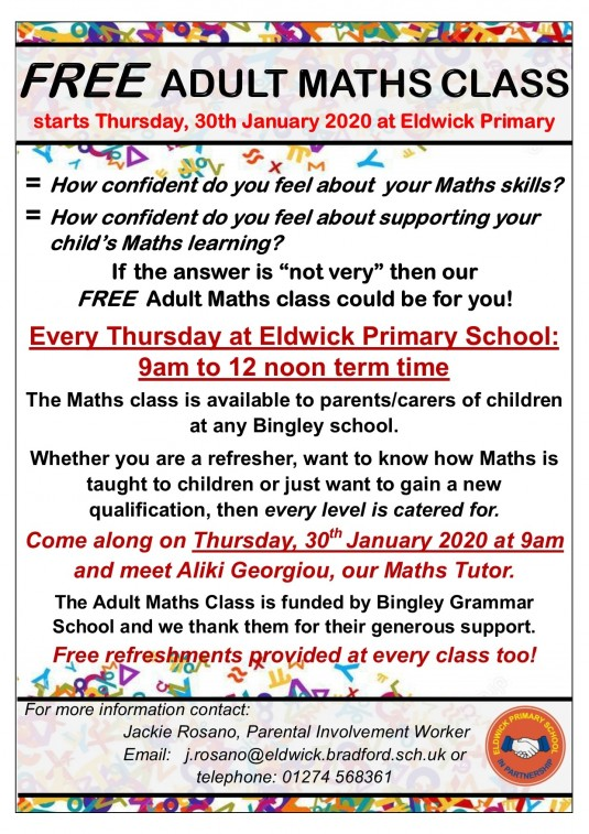 Adult Maths Class at Eldwick Primary