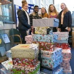 Sixth Formers with wrapped shoeboxes web