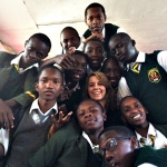 Mrs Cartledge with Jamhuri High students